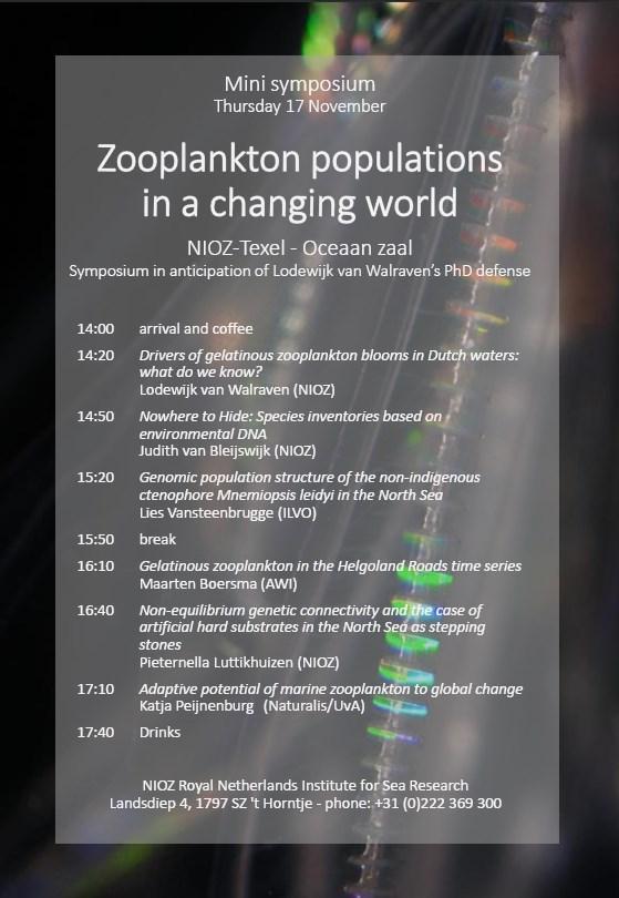 Invitation zooplankton symposium L. van Walraven defense